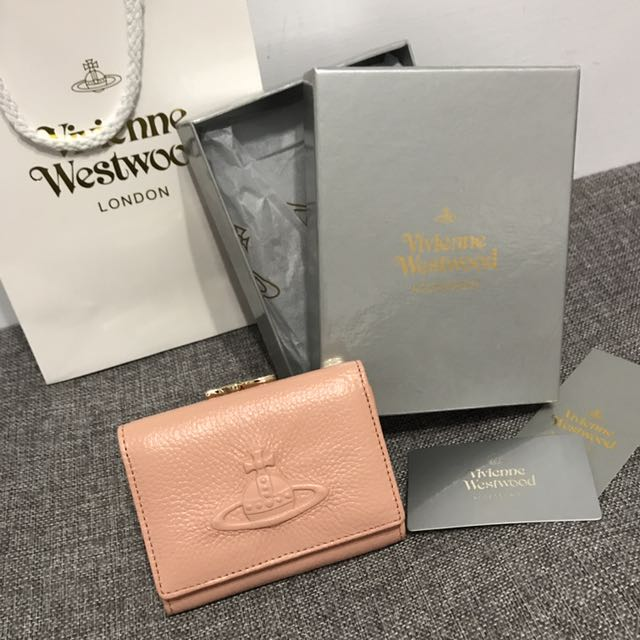 ❤️ vivienne westwood 美國代購 牛皮荔枝紋短夾 (膚粉)