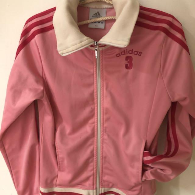 Adidas桃粉紅復古風格運動外套
