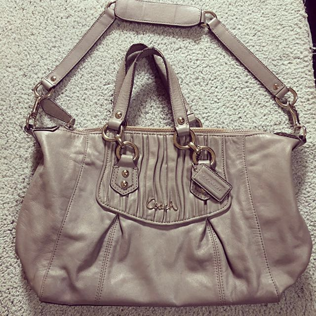 All leather COACH two way bag
