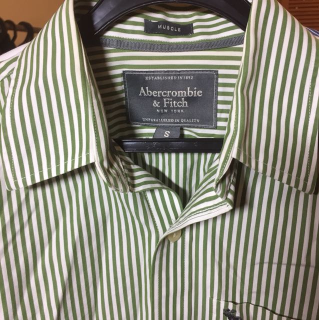 AnF Green stripped long sleeved shirt