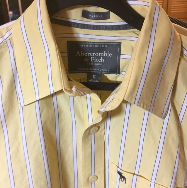 AnF Yellow/ White stripped long sleeve shirt