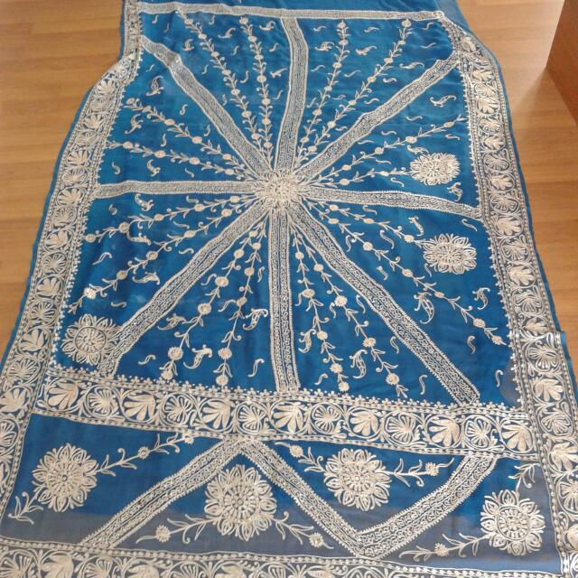 Attractive Blue Saree With Silver Threadwork And Sequins