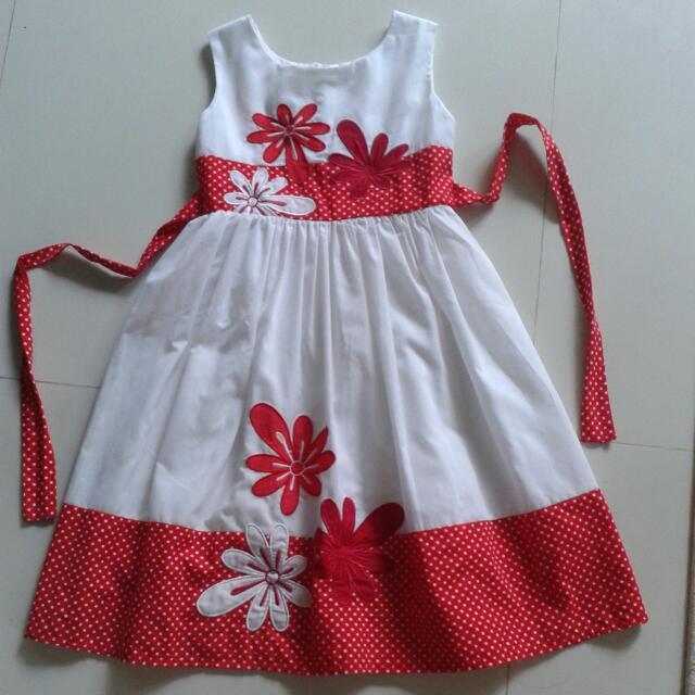 Attractive Red And White Dress