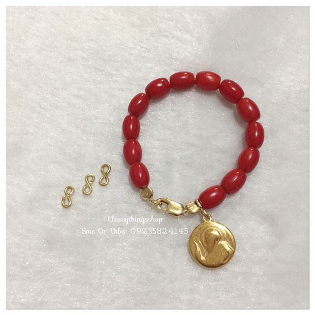 Authentic Red Coral Bracelet Plain or w/ St.Benedict