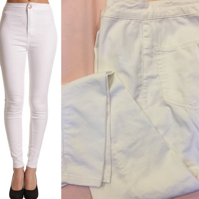 Bershka High Waist White Skinny Pants