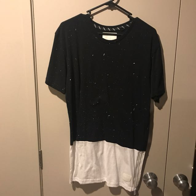 Black and white absent shirt