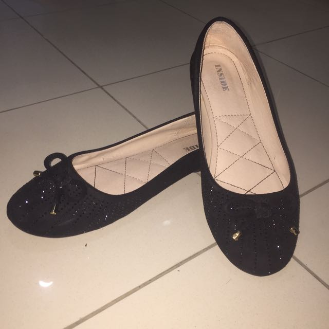 Black Flat Shoes with Diamonds