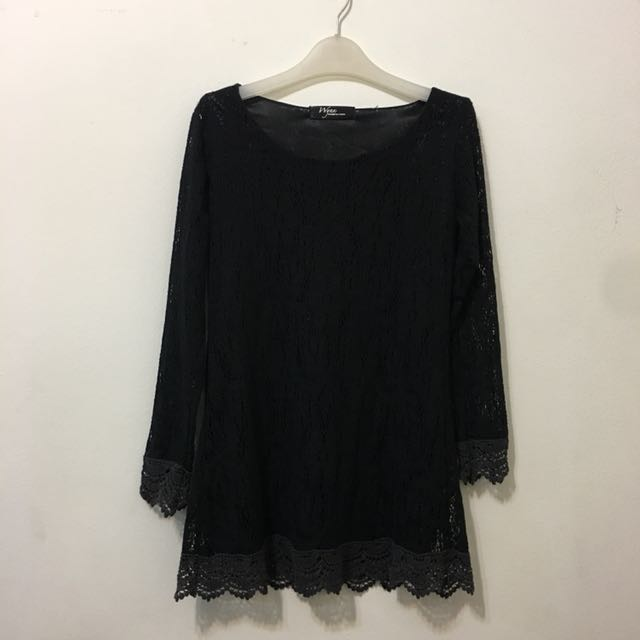 Black Long Sleeves Lace Long Top