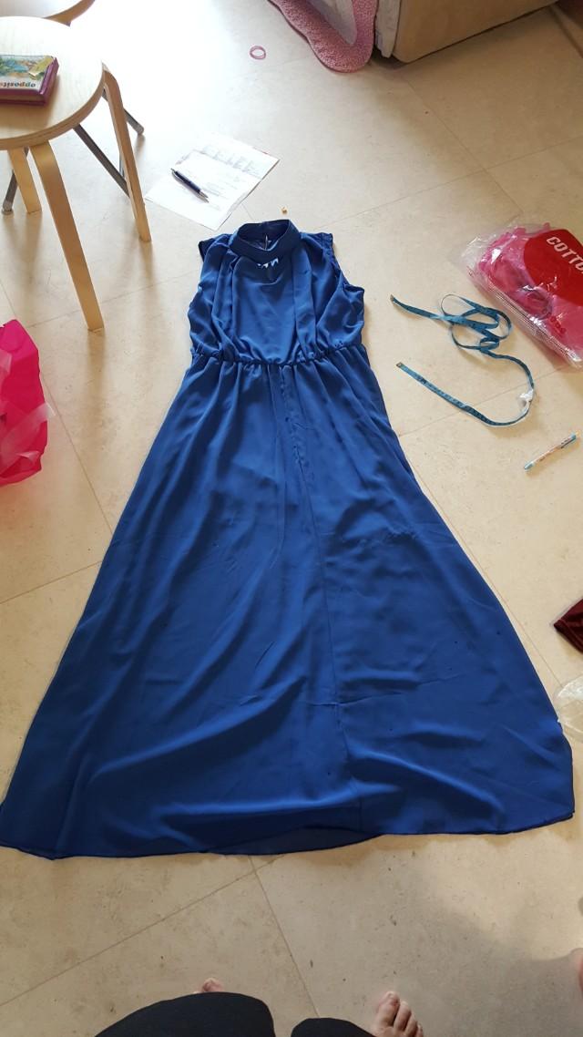 Blue Chiffon High Collar Dress
