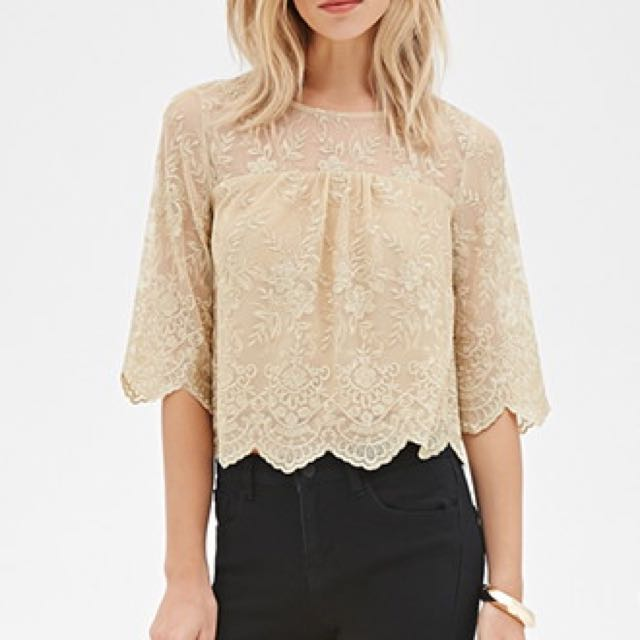 BNWT Forever 21 metallic floral embroidered top