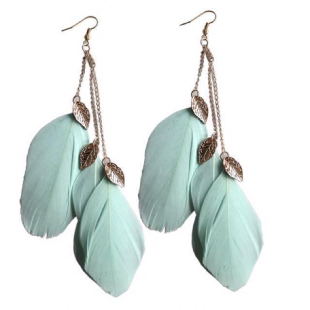 Bohemian Feather Earrings - green