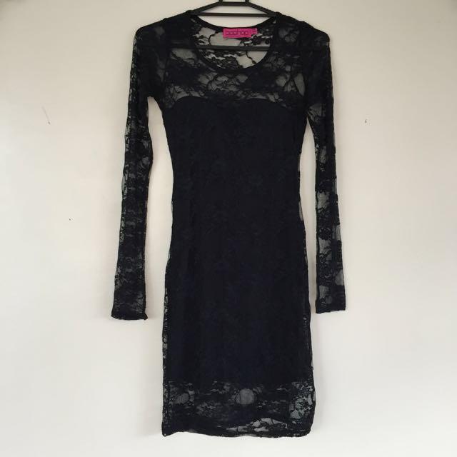 Boohoo Black lace dress