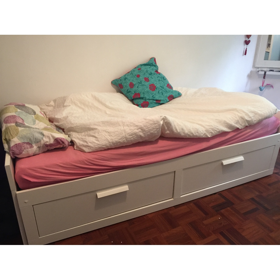Ikea Brimnes Day Bed Frame With 2 Drawers Pull Out Bed Furniture Beds Mattresses On Carousell