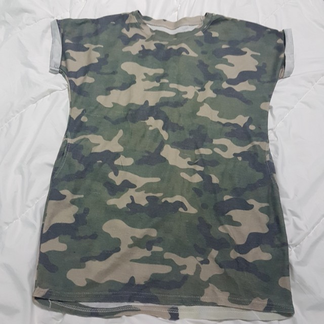 308a5cfbd8576 Camo Oversized Army Print T shirt Dress With Pockets, Women's Fashion,  Clothes, Dresses & Skirts on Carousell