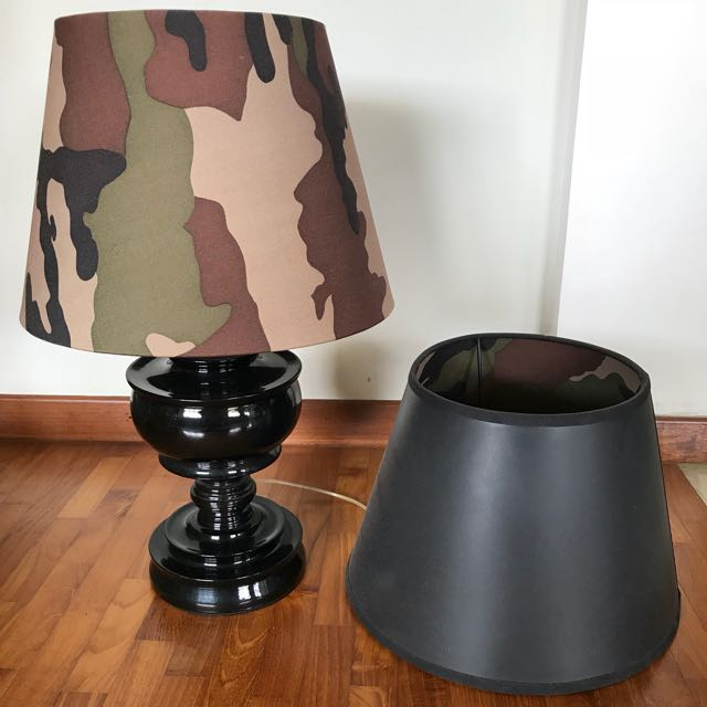 Camouflage shaded lamp black wooden base home furniture home camouflage shaded lamp black wooden base camouflage shaded lamp black wooden base mozeypictures Gallery