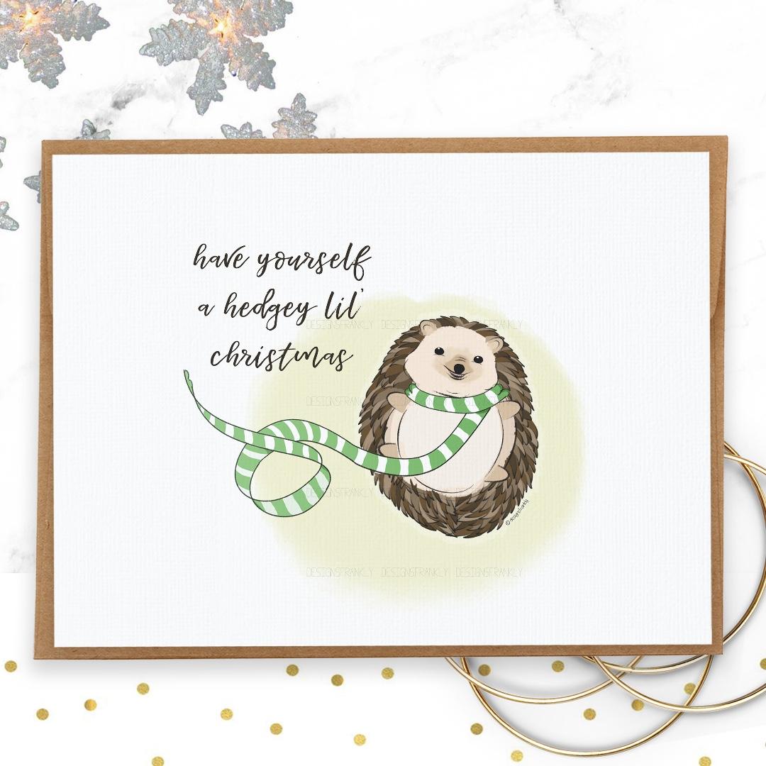 Cute Christmas Puns.Christmas Cards Hedgehog Christmas Card Design Fun And