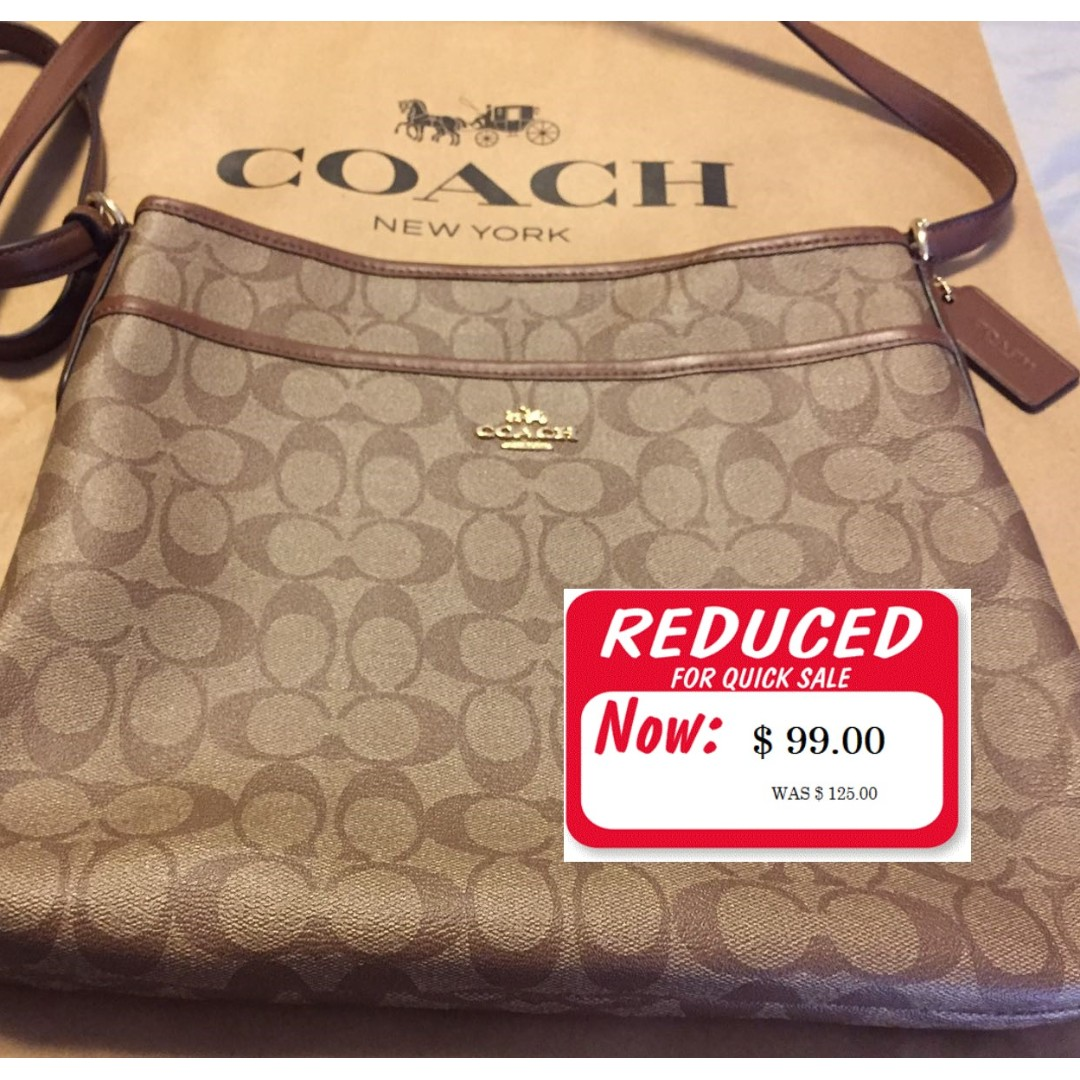 Coach Bag - New with Tags - Authentic Signature Canvas File Brown Strap New