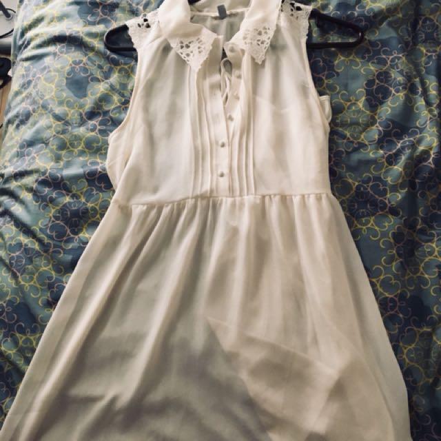 Cream colored lace chiffon dress
