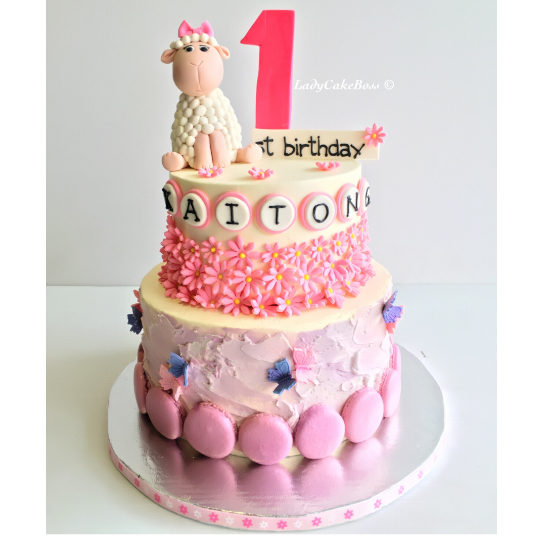 Customized 1st Year Birthday Cake Food Drinks Baked Goods On