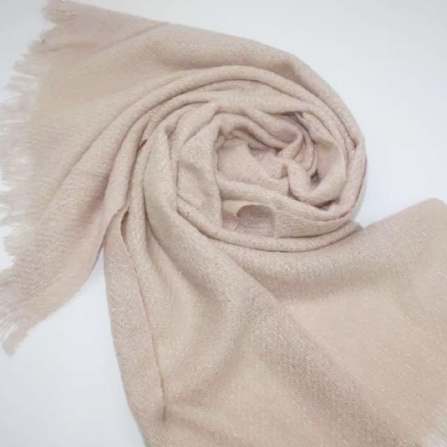 法國CYRILLUS 奶茶杏色毛呢圍巾