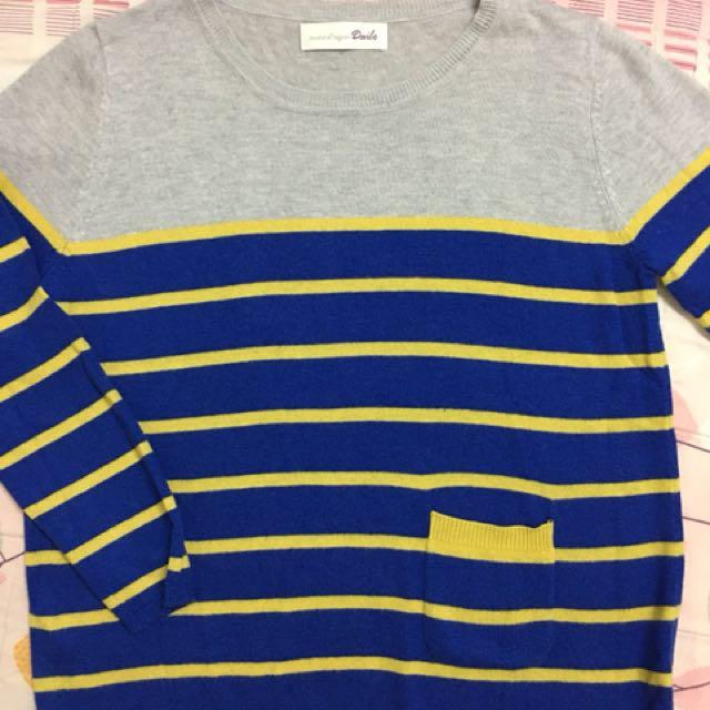 Dailo 灰黃藍條拼接可愛口袋薄針織上衣