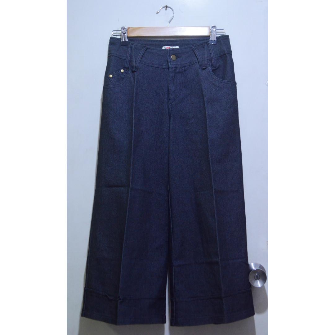 Denim Culottes in Dark Gray | Square Pants