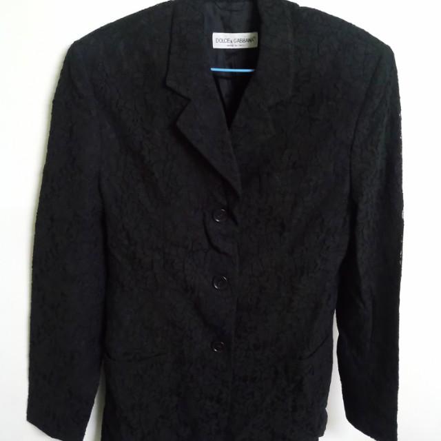 D&G黑色外套,刺繡布料