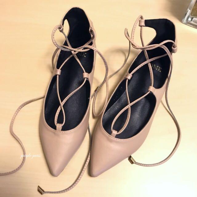 全新【DMK 】粉色繞踝繫帶尖頭鞋 平底鞋