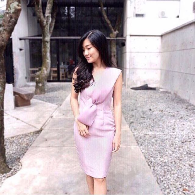 Dusty Pink Bow Dress
