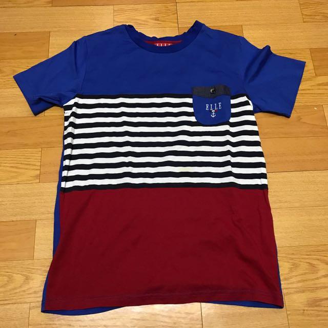 全新ELLE160cm尺寸s藍白紅條紋不敗款T恤#舊愛換新歡