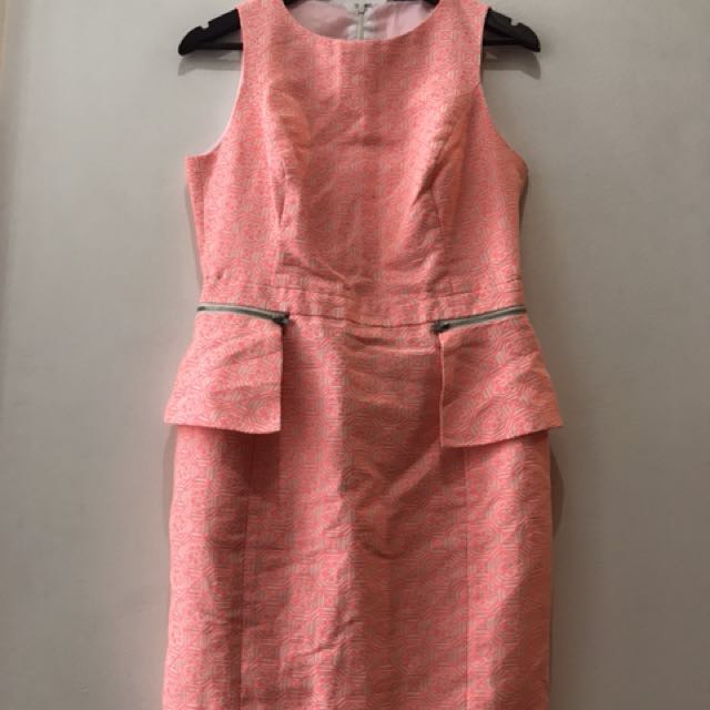 excellent condition pink peplum jacquard dress - fits m to small L