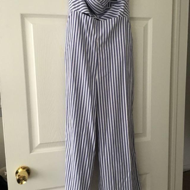 Fashion Nova-Blue Stripe Jumpsuit