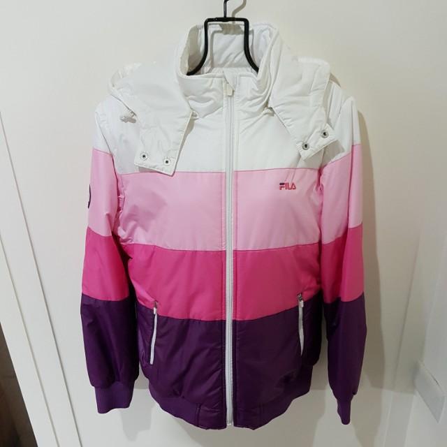 FILA 二手粉色橫條羽絨外套/可拆帽/小朋友款式160/保暖