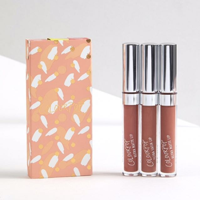 Free Post: NEW Colourpop Just Peachy 3x lip bundle