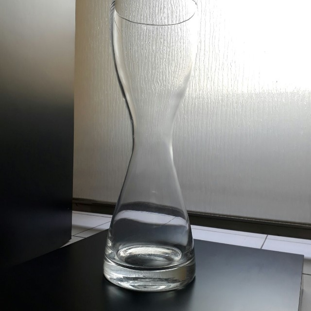 Glass Vase 49cm Tall Unique Hourglass Shaped Furniture Home