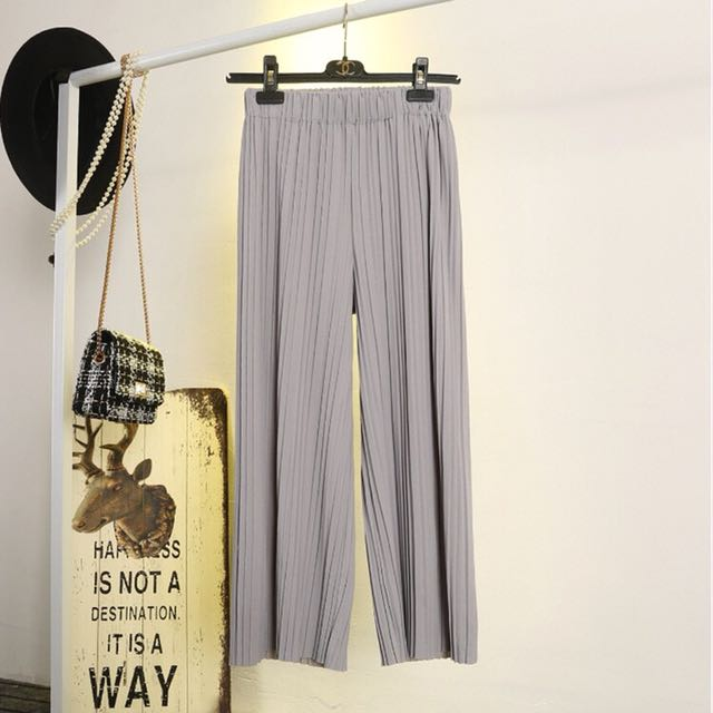 Grey Pleated Culottes