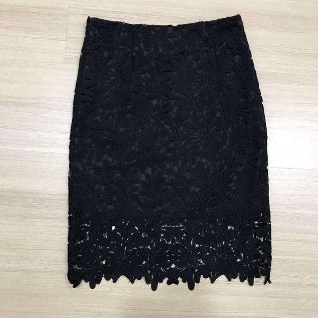 High waist Lace Black Skirt