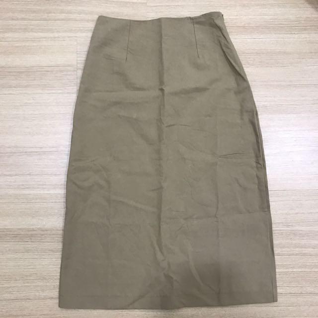 High waist Midi Beige Skirt