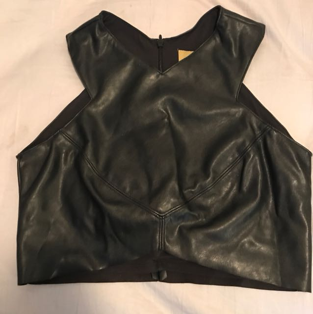 H&M leather look midriff top size 10