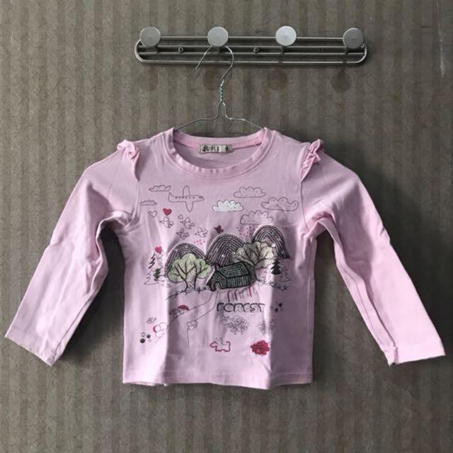 Kaos lengan panjang pink size 12-24 months bagus murah!