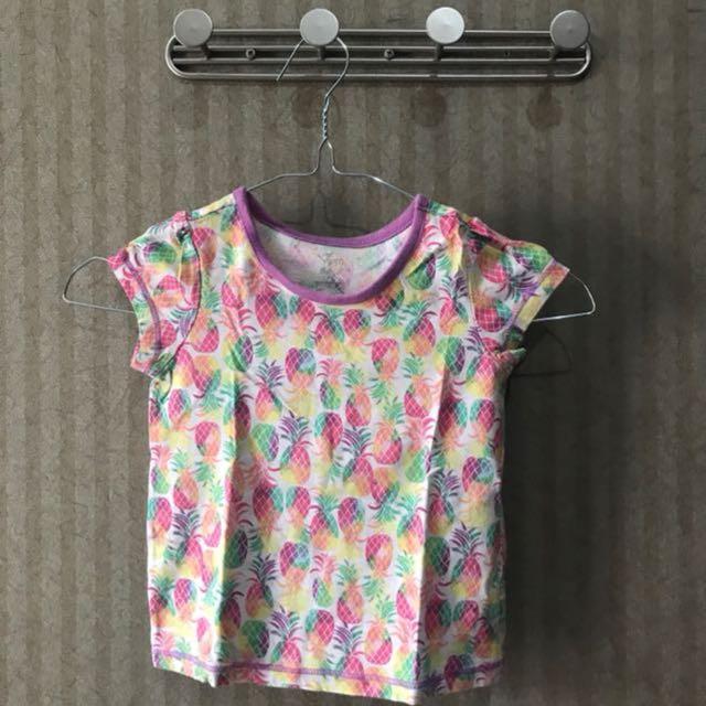 Kaos lengan pendek motif pineapple untuk baby girl