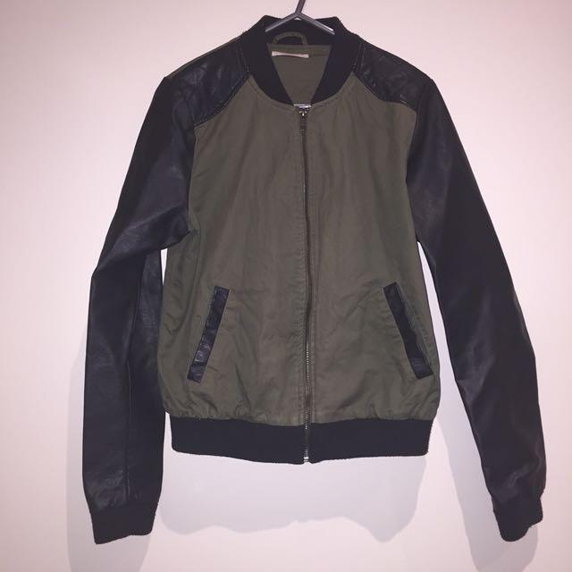 Khaki and leather bomber jacket