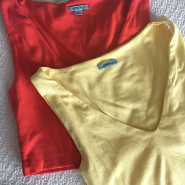 KOOKAI crop tops - Size 2 (Red & Yellow)