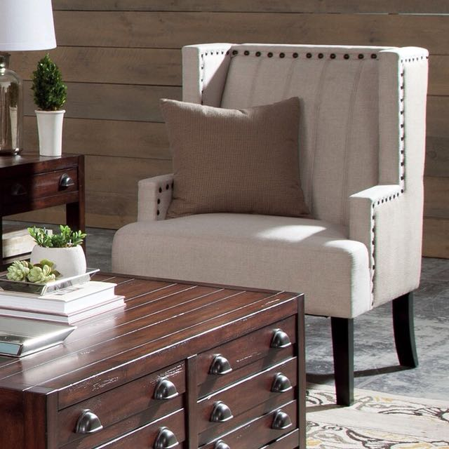Light Beige Accent Chair