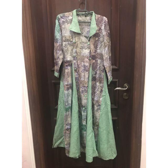 Long dress batik green