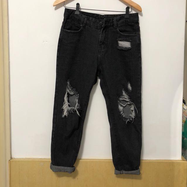黑色刷破男友褲m號