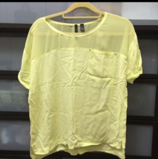 近全新免運🎉MANGO黃色 透膚上衣