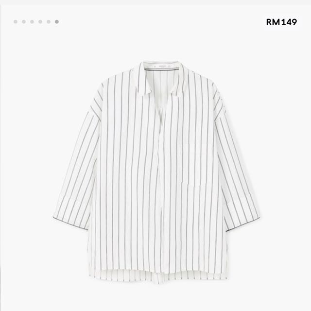 Mango Oversized Stripe Boxy Shirt