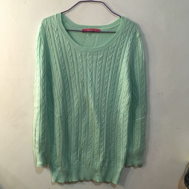 Mint Green Cable Knitted Sweater Preloved Womens Fashion Clothes