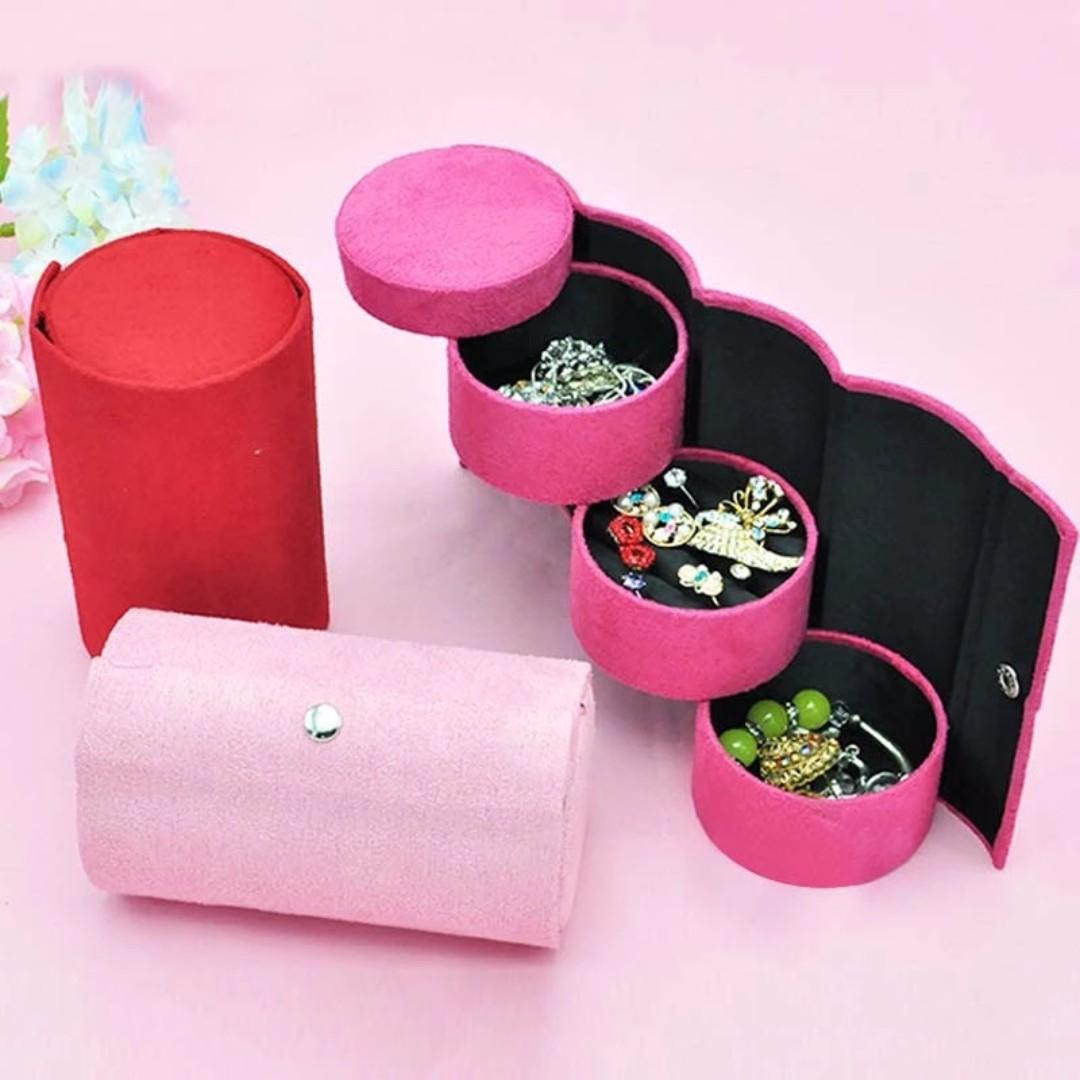 MULTI LEVEL JEWELLERY TRAVEL BOX - ROSE PINK